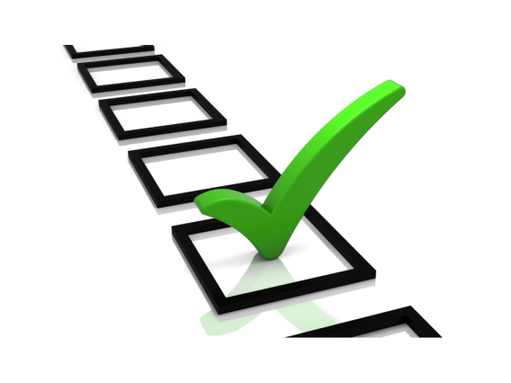 Black check boxes with one green check mark
